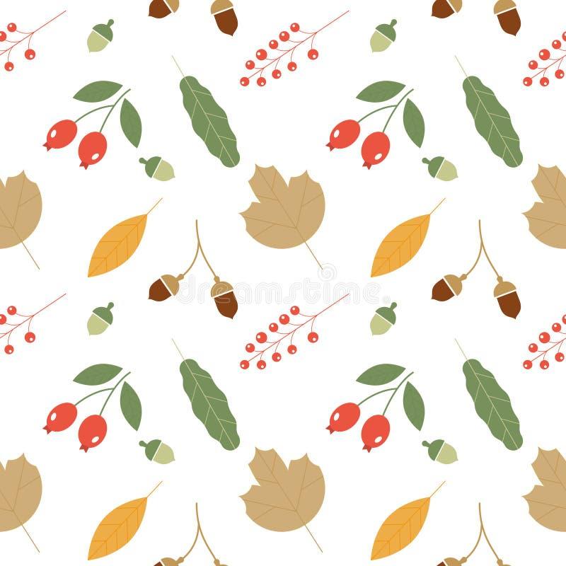 与橡子和秋天橡木叶子的无缝的样式在橙色,米黄,布朗和黄色 皇族释放例证