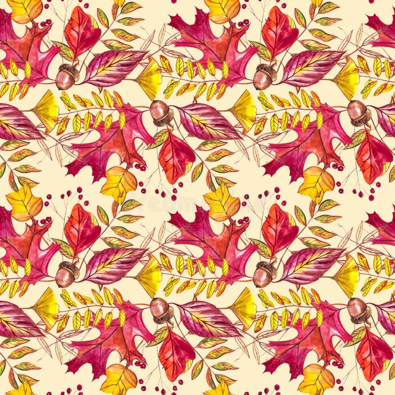 与橡子和秋天橡木的无缝的样式在橙色,米黄,棕色和黄色离开 为墙纸,礼物纸完善 向量例证