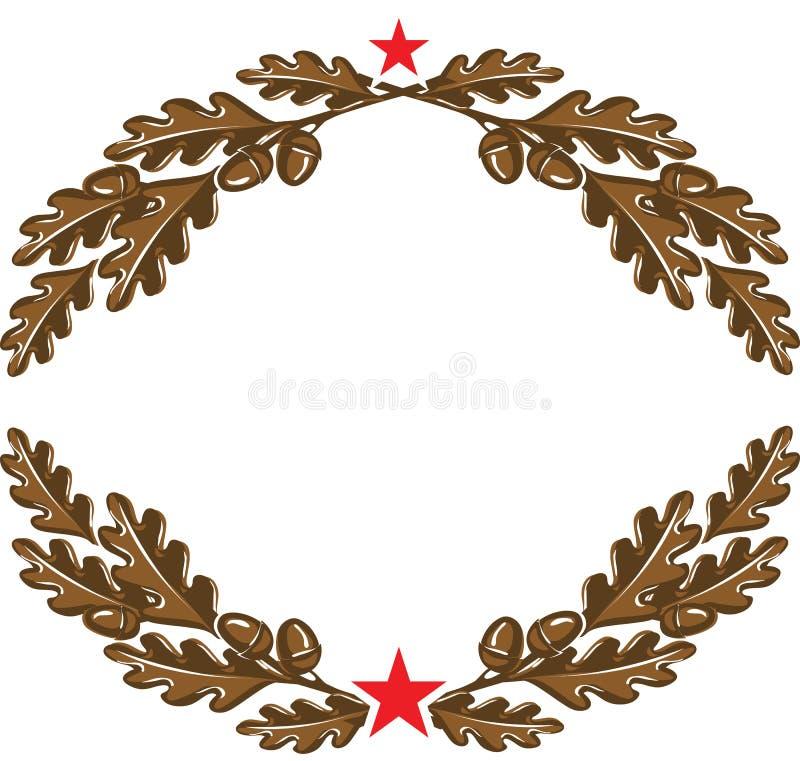 与橡子的棕色橡木分支缠绕与红色星 向量例证