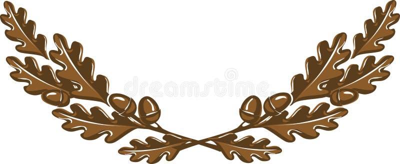 与橡子的棕色橡木分支缠绕 向量例证