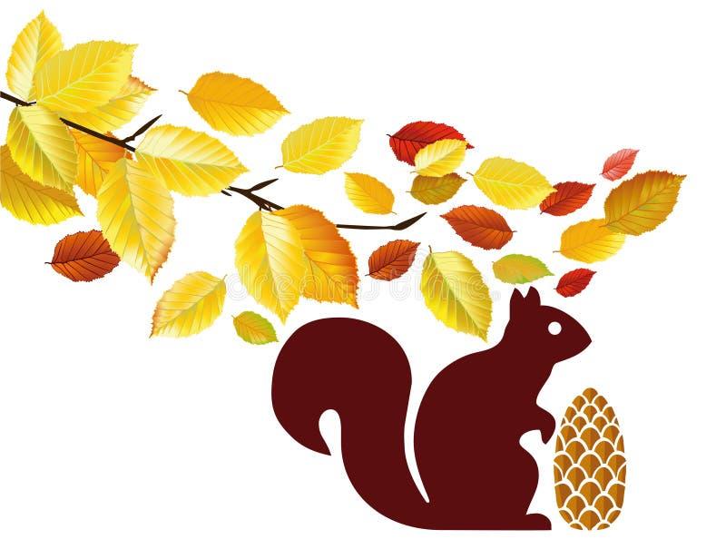 与橡子的灰鼠在结构树下 库存例证