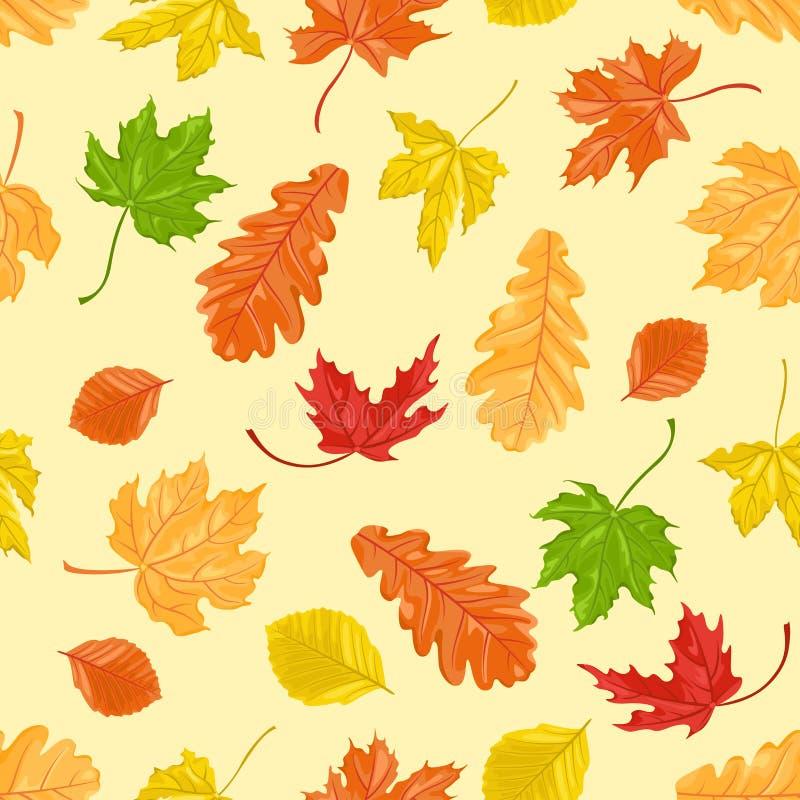 与橡木、槭树和山毛榉秋叶的无缝的样式在黄色背景 库存例证