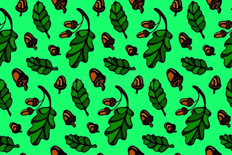 与橡木叶子和橡子的样式 库存例证
