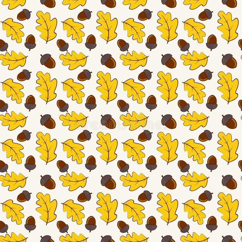 与橡木叶子和橡子的秋天无缝的样式 传染媒介backg 库存例证