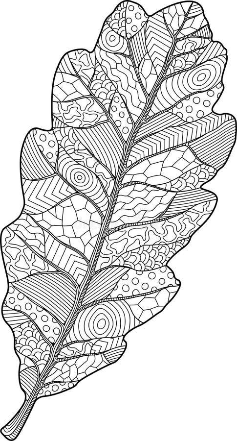 与橡木叶子的彩图页 库存例证