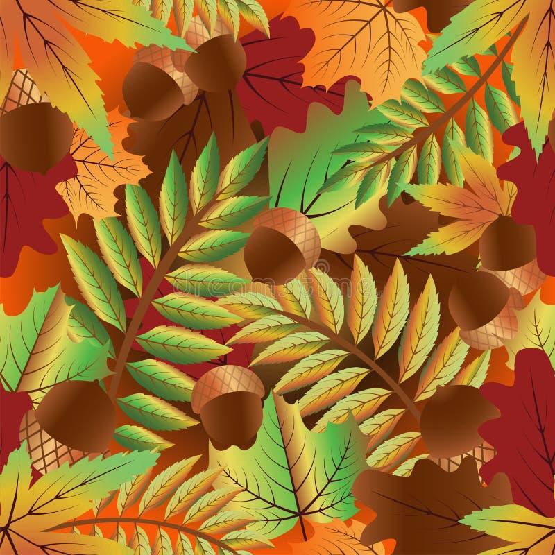与橡木叶子的秋天无缝的墙纸 库存例证