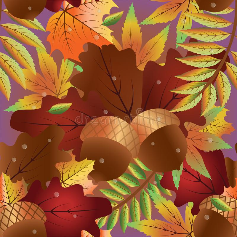 与橡木叶子的秋天无缝的背景 向量例证