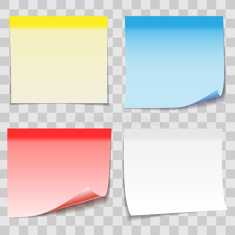 与橡皮膏的色纸稠粘的笔记在transpa 库存例证