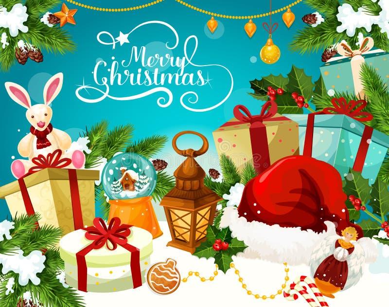 与欢乐光贺卡的圣诞节礼物 向量例证