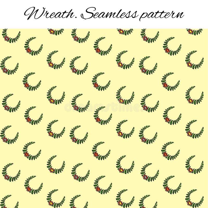 与欢乐花圈的无缝的样式 分支和花 仿照剪影样式的滑稽的图画 r 库存例证