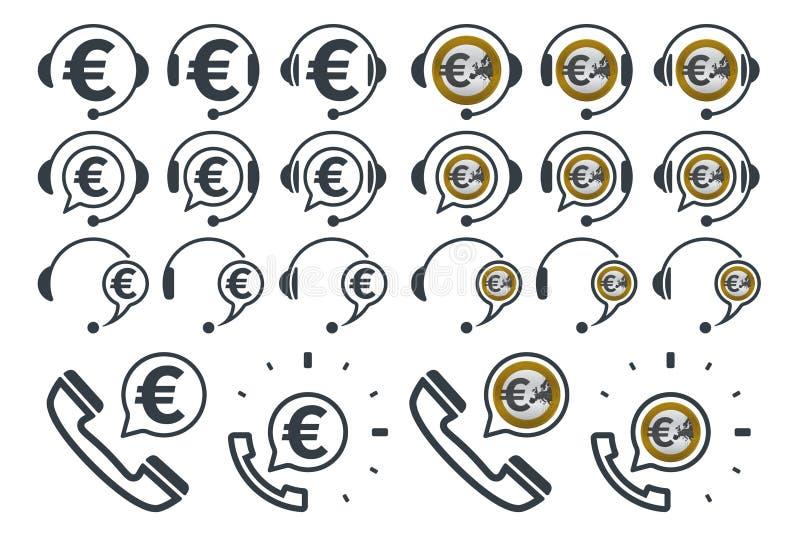 与欧元标志的耳机象 皇族释放例证