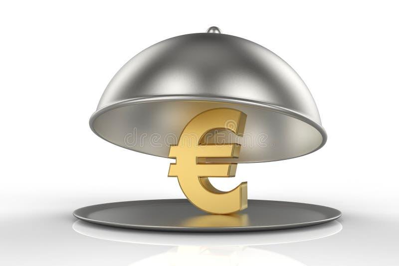 与欧元的金黄标志的餐馆钓钟形女帽 皇族释放例证