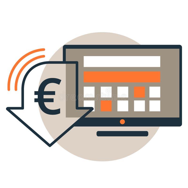 与欧元货币折扣标志的计算机显示器 适应图标 向量例证