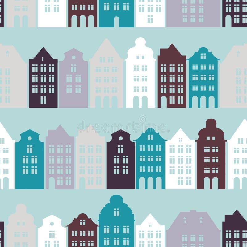 与欧洲住宅房子和街道的无缝的样式 有历史的结构 皇族释放例证