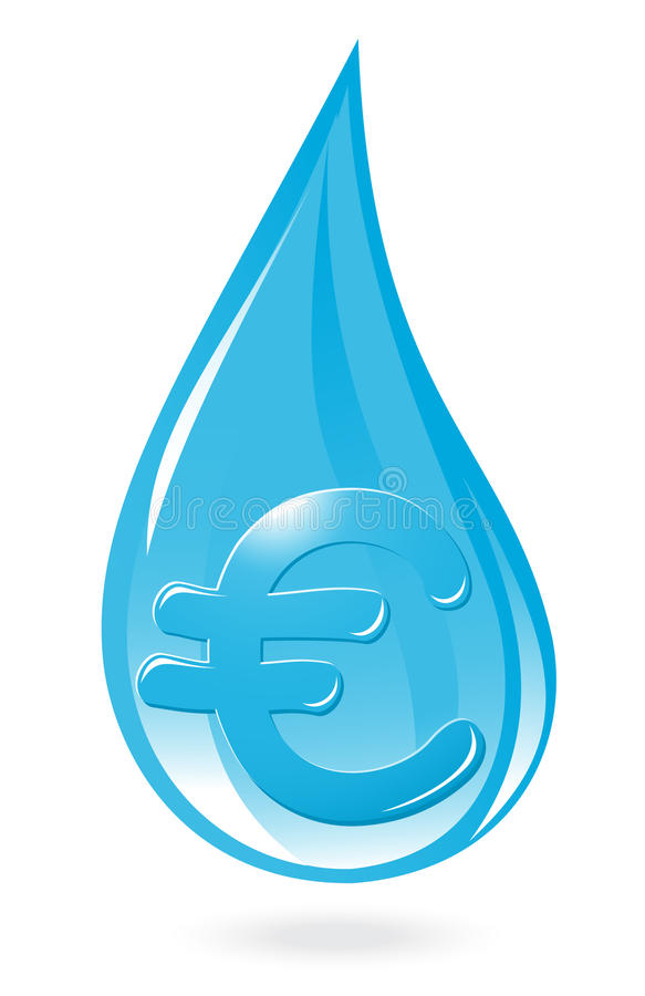 与欧洲符号的水下落 向量例证