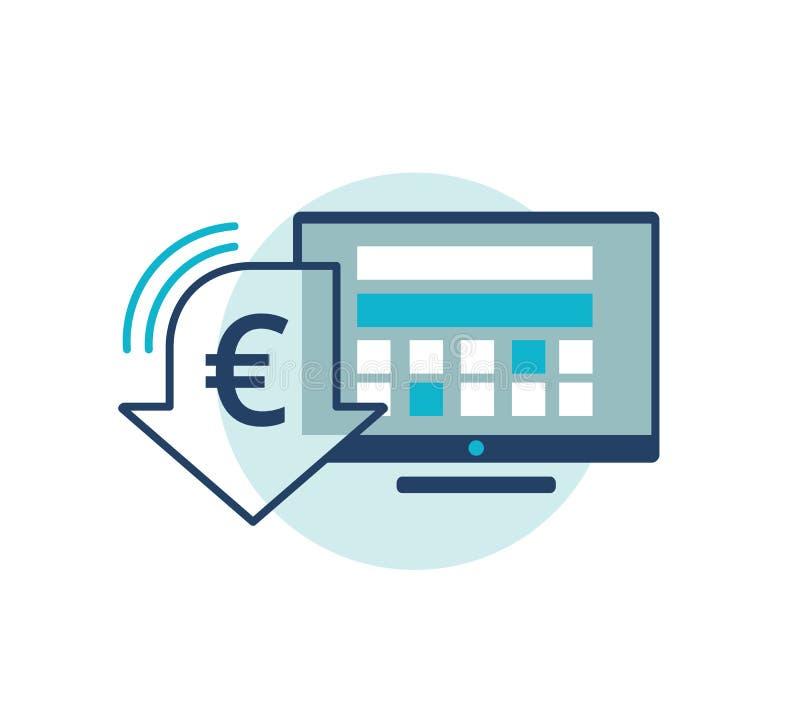 与欧洲货币折扣标志的显示器 适应图标 向量例证