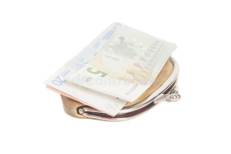 与欧洲钞票的钱包 库存照片
