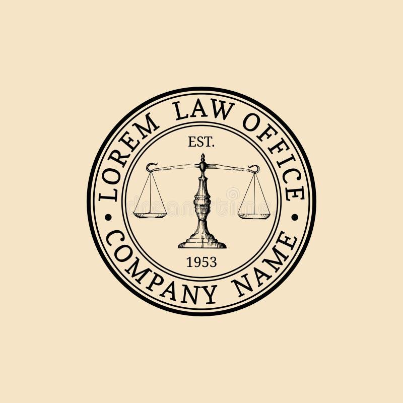 与正义例证标度的律师事务所商标  导航葡萄酒律师,提倡者标签,法律上的牢固的徽章 向量例证