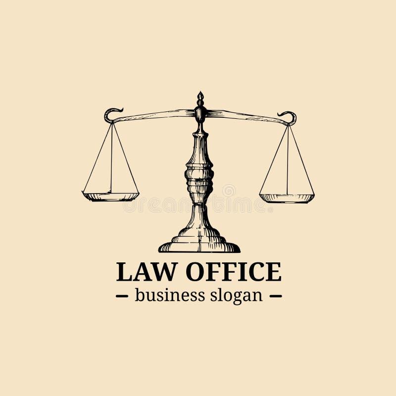 与正义例证标度的律师事务所商标  导航葡萄酒律师,提倡者标签,法律上的牢固的徽章 库存例证