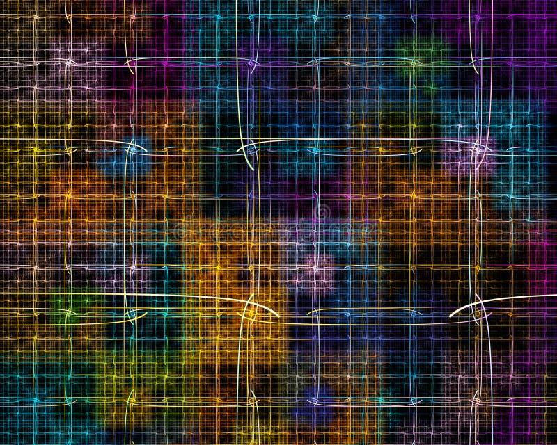 与正方形和跨过的线ove的多彩多姿的分数维 向量例证