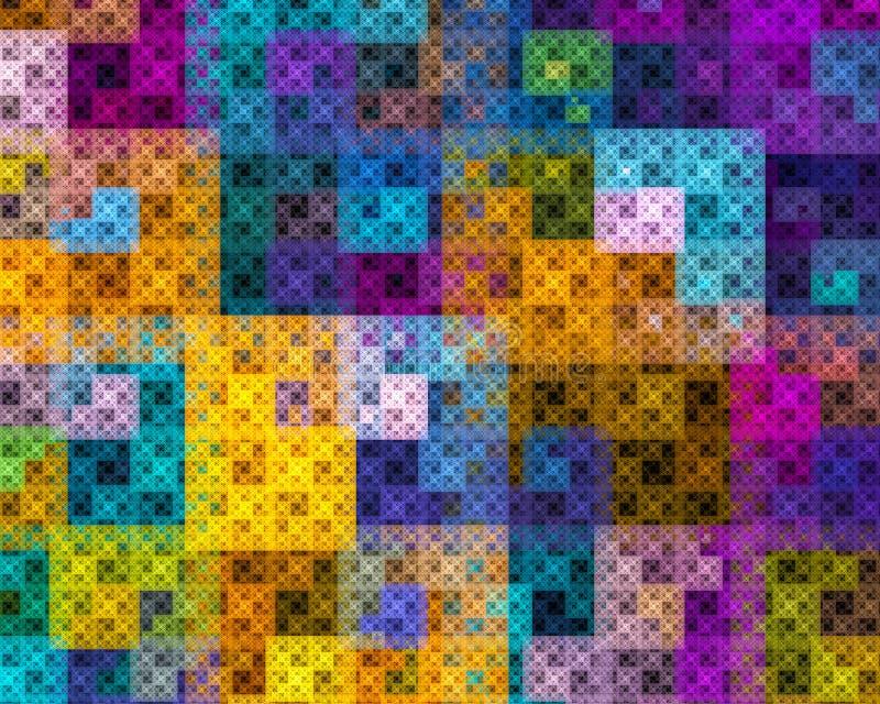 与正方形的多彩多姿的分数维在黑背景 向量例证
