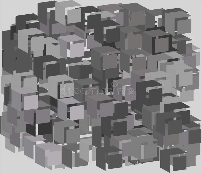 与正方形的抽象几何背景,与作用的等量 三维, 3D传染媒介例证 向量例证