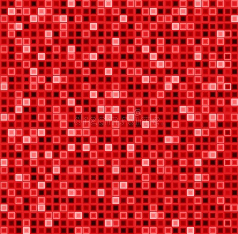 与正方形的无缝的抽象样式在红颜色 传染媒介几何背景 库存例证