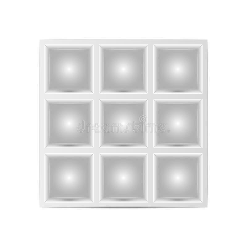 与正方形细胞物品大模型的,给产品或显示展览做广告的架子的陈列室为真正博物馆 库存例证