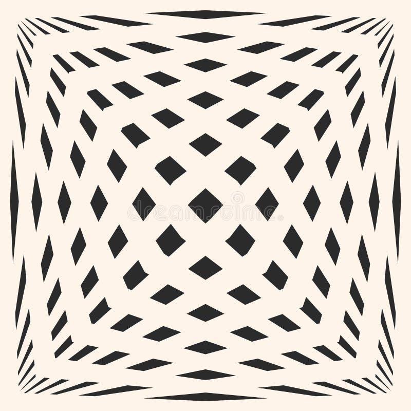 与正方形,被舒展的立方体形状的现代无缝的纹理 错觉作用 皇族释放例证