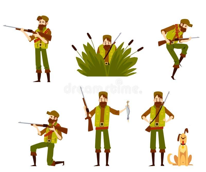 与步枪或武器和狗套的猎人在白色隔绝的传染媒介平的象 向量例证