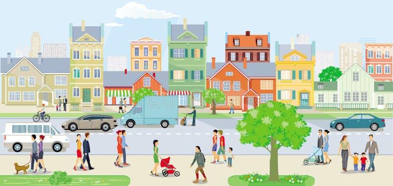 与步行者和汽车的公路交通在都市街道上 向量例证