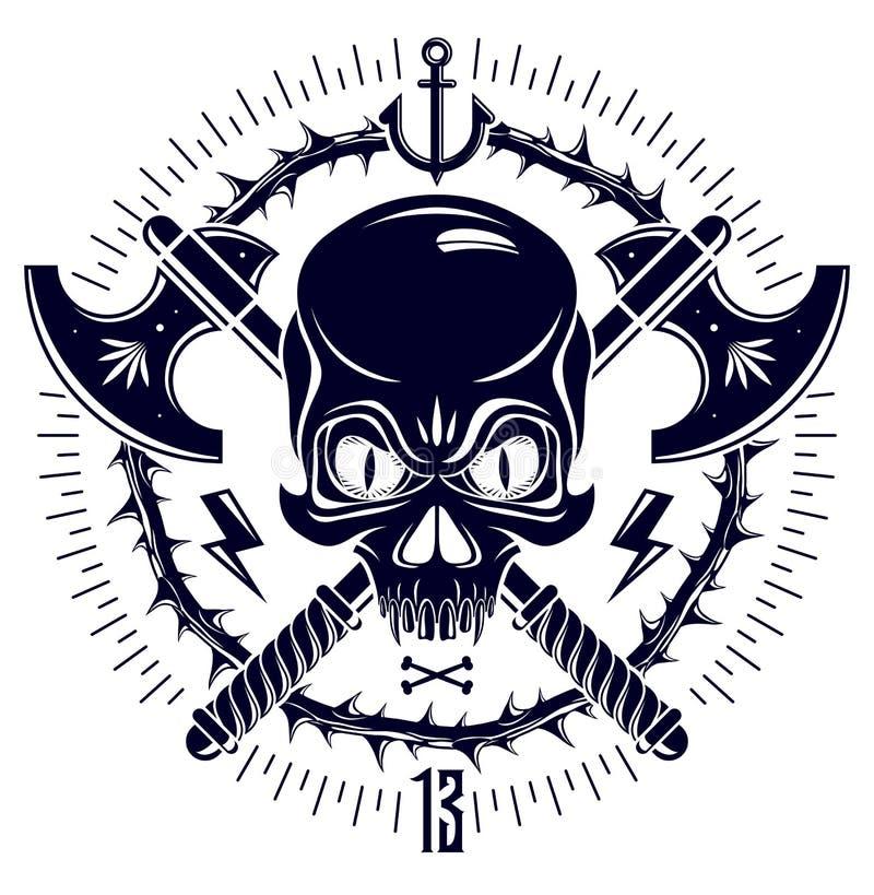 与武器和其他设计元素的积极的头骨海盗象征海盗旗 库存例证