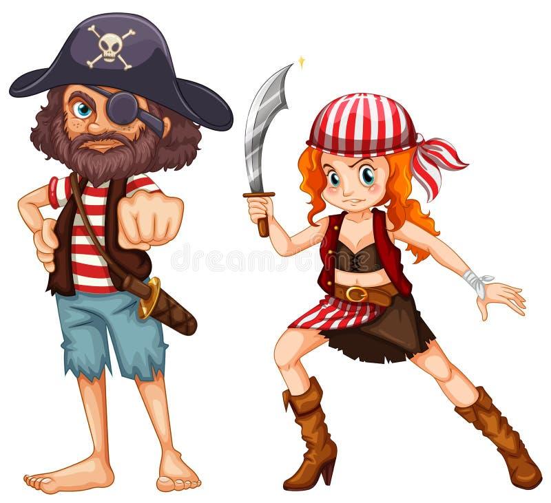 与武器的海盗乘员组 库存例证