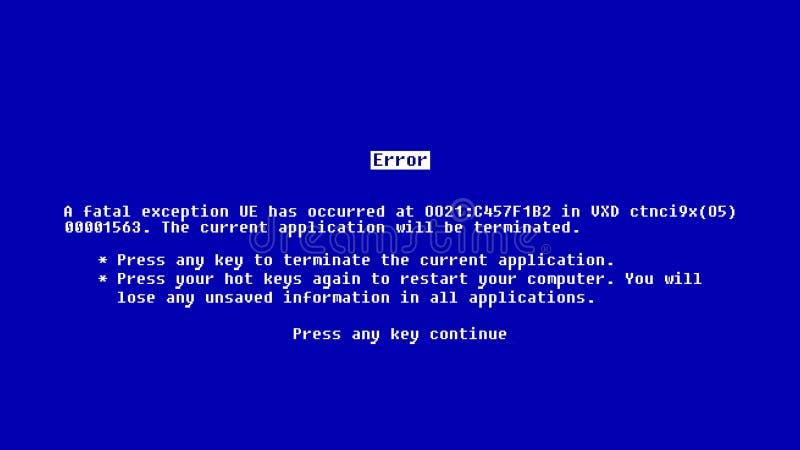 与死亡蓝色屏幕的抽象背景  向量例证