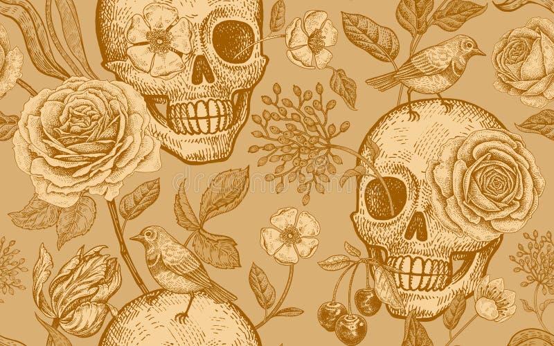与死天的标志的花卉无缝的样式 头骨,上升了f 皇族释放例证