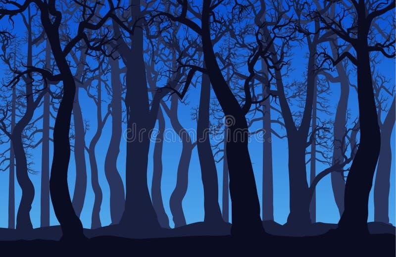 与死的树的森林风景在晚上 向量例证