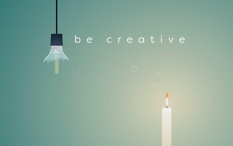 与残破的电灯泡和蜡烛轻的燃烧的创造性的解答企业传染媒介概念 皇族释放例证