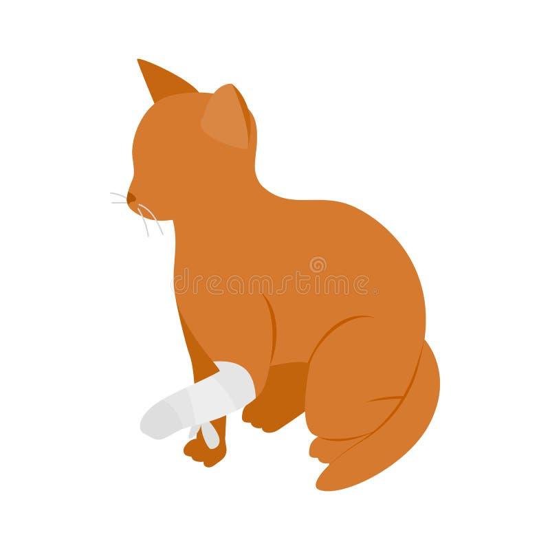 与残破的爪子象,等量3d的猫样式 库存例证