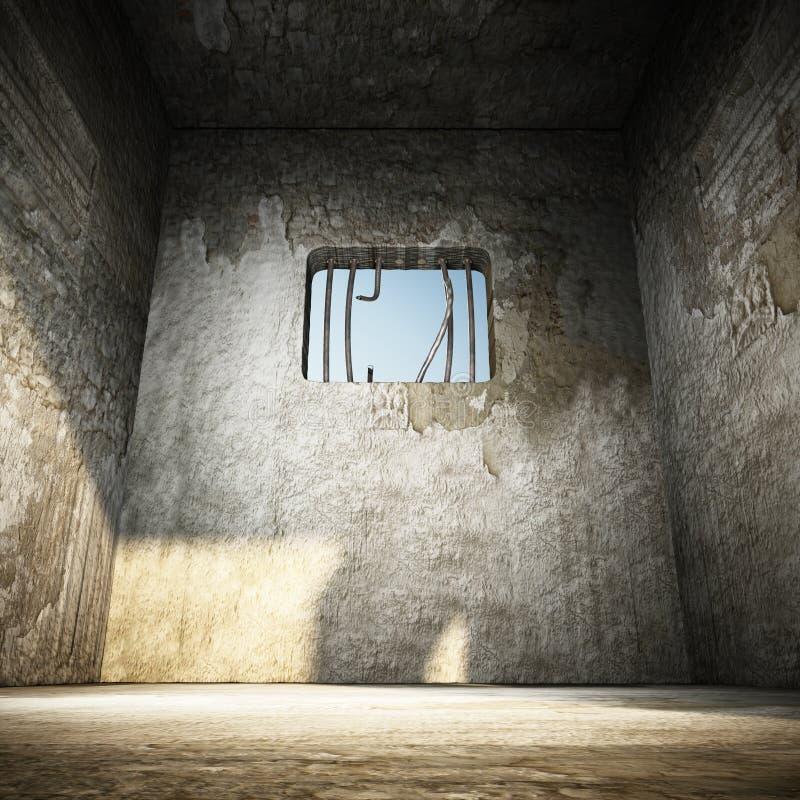 与残破的监狱酒吧的监狱牢房在窗口 3d例证 库存例证