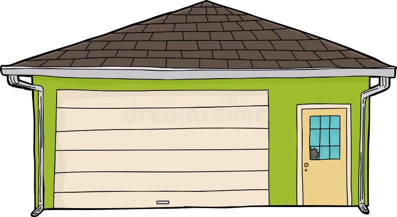 与残破的窗口的绿色车库 向量例证
