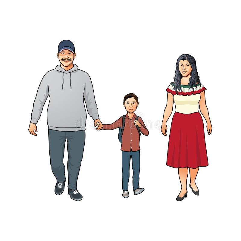 与母亲、父亲和他们的年轻儿子的愉快的友好的年轻拉丁美州的家庭 向量例证