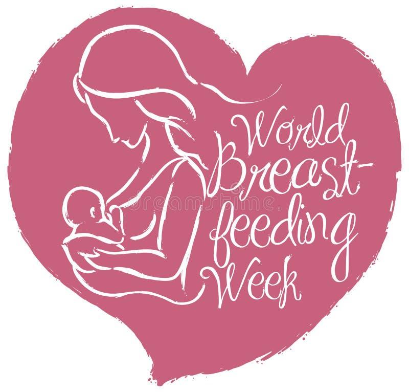 与母亲剪影的心脏世界哺乳的星期事件的,传染媒介例证 向量例证
