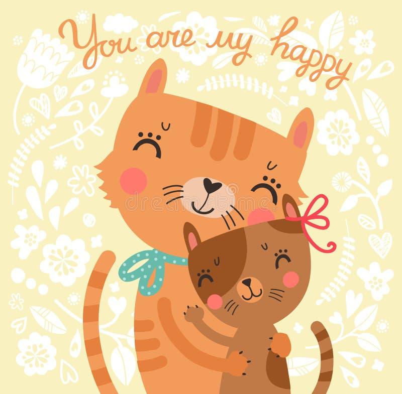 与母亲猫和小猫的花卉逗人喜爱的背景 向量例证