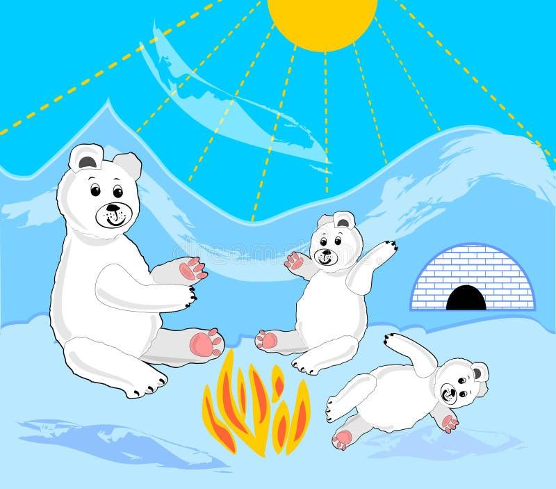与母亲的冰熊崽由篝火 由园屋顶的小屋的冰熊 冰熊开会 库存例证