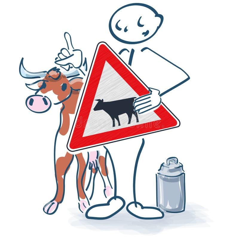 与母牛、标志和牛奶罐头的棍子形象 库存例证