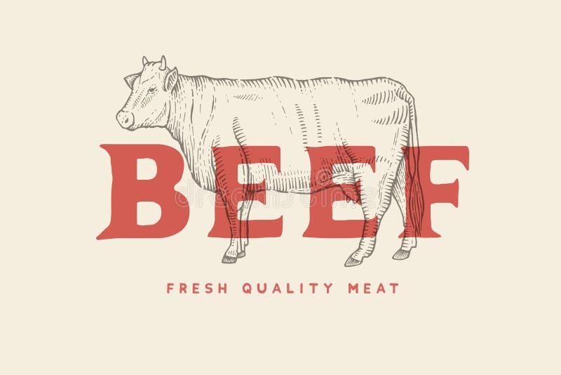 与母牛的图片的葡萄酒象征和题字发牢骚,新鲜的肉 库存例证