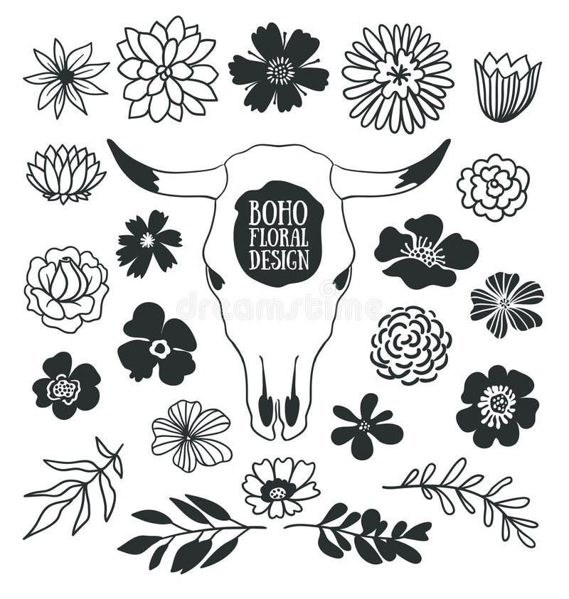 与母牛头骨的Boho黑装饰植物和花收藏 向量例证