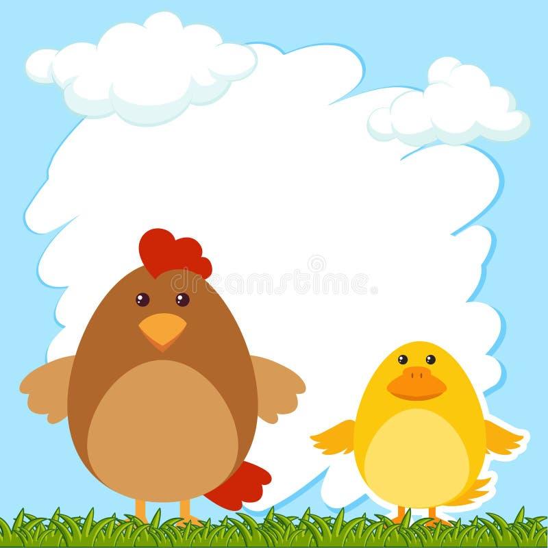 与母鸡和小鸡的边界模板 库存例证