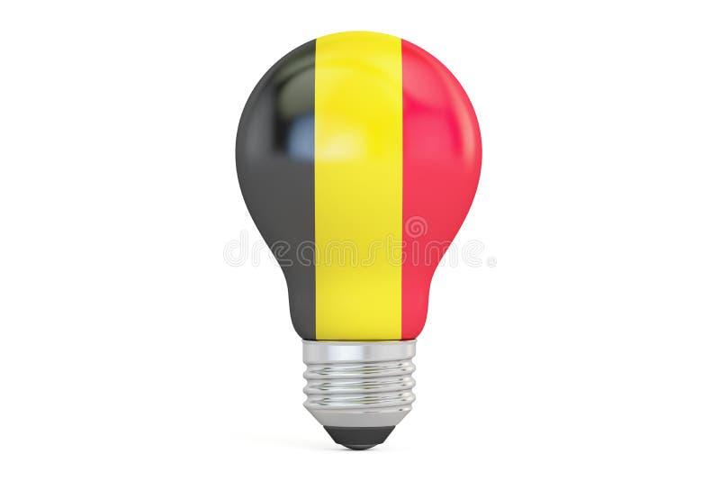 与比利时旗子, 3D的电灯泡翻译 向量例证