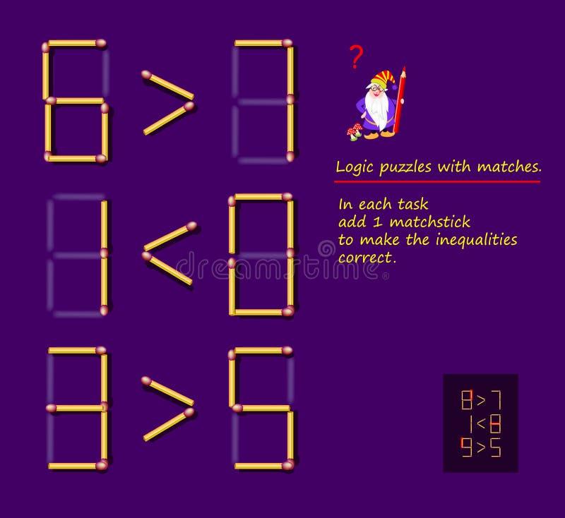 与比赛的逻辑难题比赛 在每项任务增加1火柴梗使不平等正确 难题的可印的页 库存例证